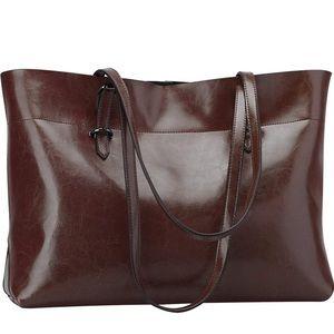 Dark Brown Genuine Leather Tote Shoulder Bag